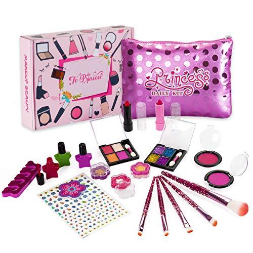 Sundaymot Trucchi Bambina Set, Giocattoli per Il Trucco dei Bambini, 21 Pezzi Lavabile Makeup Set di Cosmetici per Bambini