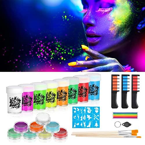 Creamify Vernice Fluorescente Colorato - 23 Pcs Neon Kit per Pelle Viso Corpo - Fluo Party UV Body Painting per forniture per feste/Halloween