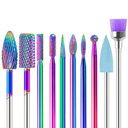SPTHTHHPY Punte Fresa Unghie, 10pcs Electric Nail Drill Kit 3/32' Tungsten Carbide Electric Nail Files Electric Manicure Set Manicure Pedicure Home Salon Use