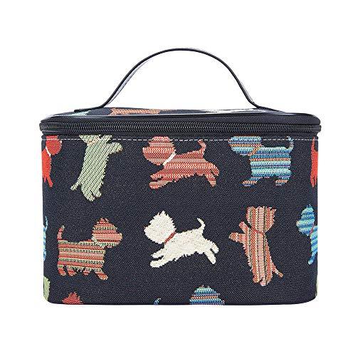 Signare Tapestry Arazzo Porta Trucchi da Viaggio, Borsa Trucco Trousse Make up Borsa Beauty Case Donna con Disegni di Cani (Cucciolo giocoso)