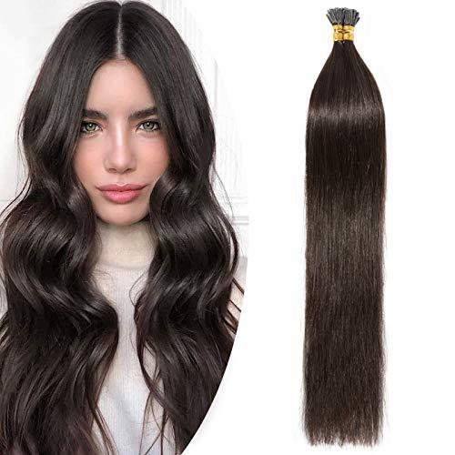 SEGO Extension Capelli Veri Cheratina 100 Ciocche I-Tip Hair Extensions 50g 100% Remy Human Hair Naturali senza Clip (55cm #2 Castano Scuro)