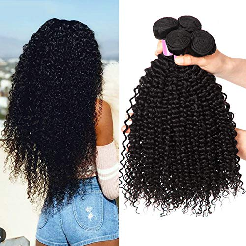 EMOL Hair 9A Capelli Ricci Umani Brasiliani Naturali Capelli Veri Ricci Tessiture Brazilian Human Hair Kinky curly Bundles 10 12 14 Pollice Total 300g Colore Nero Naturale Può Essere Tinto