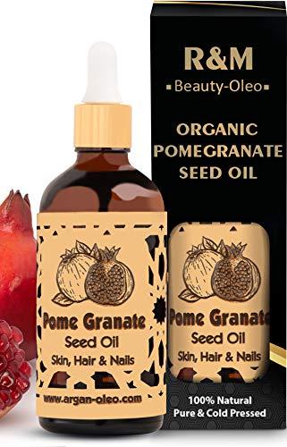 R&M - Olio di semi di melograno biologico - Olio di melograno premium spremuto a freddo per il viso e molto altro ancora - Flacone da 100 ml