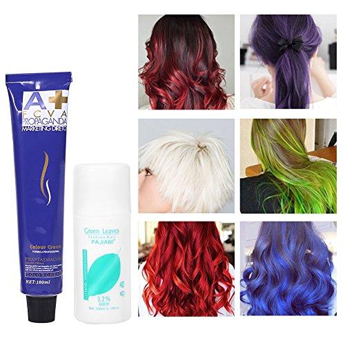6 colori 100ml / bottiglia Crema Colorante naturale moda styling tinture per colore capelli crema con doppio latte di ossigeno unisex ( Rosso rosato)