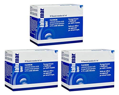BUYFARMA PROMO PACK - 3X Ialumar Iper Soluzione Sterile di Acqua di Mare Ipertonica al 3% e Acido Ialuronico - 72 Flaconcini Monodose da 5ml - OMAGGIO A SORPRESA
