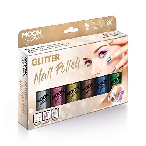Smalto Olografico Glitter by Moon Glitter - 14ml - Set regalo contenente 6 smalti per unghie - argento, rosa, oro, oro rosa, blu e verde