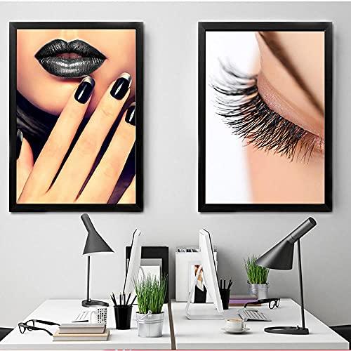 Stampe HD Fashion Home Decor Smalto per unghie Canvas Poster Ciglia Pittura Trucco Wall Art Nordic Immagine modulare per soggiorno-40x60cmx2/senza cornice