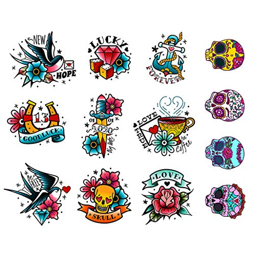 CARGEN Tatuaggi temporanei classici Tatuaggi di vecchia scuola Tatuaggi falsi Realistico impermeabile Teschio Spada Uccello Rosa Tatuaggi con scritte per adulti Donne Uomini e bambini