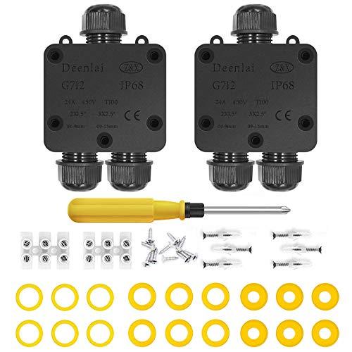 Scatole di derivazione,IP68 Scatole Impermeabili Esterno Scatole per Collegamenti per 4-14 mm Diametro Cavo,Scatola di Giunzione Esterno Connettore Cavi Elettrici Impermeabile (2 Pack)