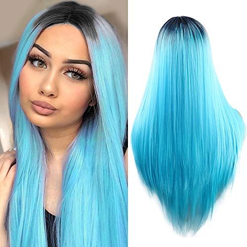 Parrucca da donna Moda 2 Tone Ombre Resistente al calore parrucca sintetica blu lunga rettilineo 55,9 cm