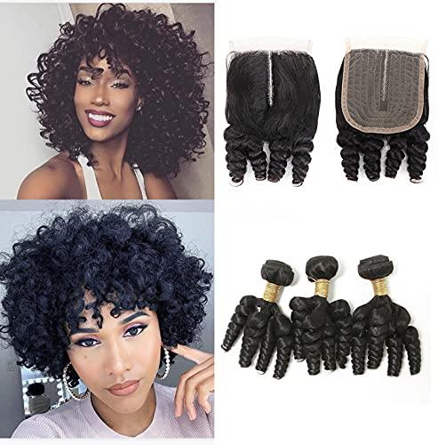 BLISSHAIR Brazilian Hair Funmi Curly capelli spirale Human Hair 3 Bundles and T Lace Closure Corta Loose Curly Weave Virgin Veri Capelli Umani Brasiliani estensioni 121212+10