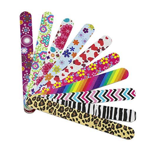 Lima per unghie Hbsite 10 PCS Manicure professionale Lima per unghie a doppia faccia Lavagna per smeriglio Lavaggio colorato Strumento per pedicure 180 Gritbr