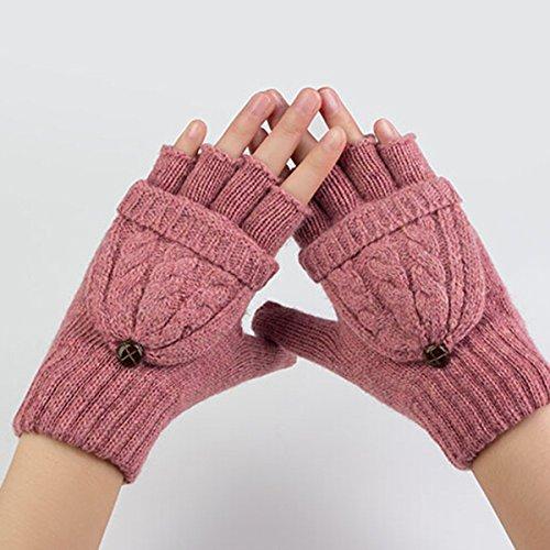 ROSENICE Guanti senza dita donne calda lana maglia guanti con guanto Cover(Pink)