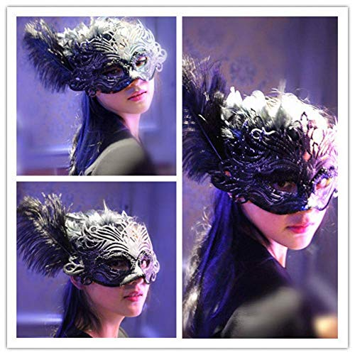 KKMRSL Halloween Masquerade Party Mask Masquerade Party Golden Beauty Mask Princess Black Feathers