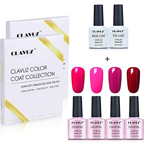 CLAVUZ Smalto Semipermente Smalto per Unghie Set Kit da 4pzs Gel Colores e Top Coat Base Coat Nail Soak off UV LED Romantico Gel Semipermanente per Unghie Manicure 10ML Gift Set - C005