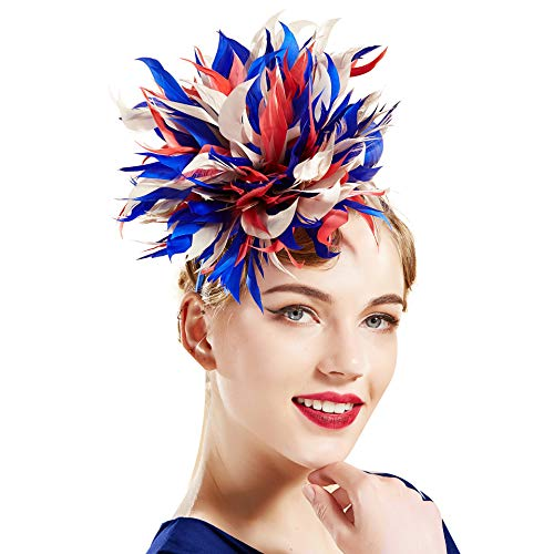 Coucoland - Cerchietto colorato per capelli con piume, in stile retrò con richiamo agli anni '20, per feste, Halloween, serate a tema Blu Taglia unica