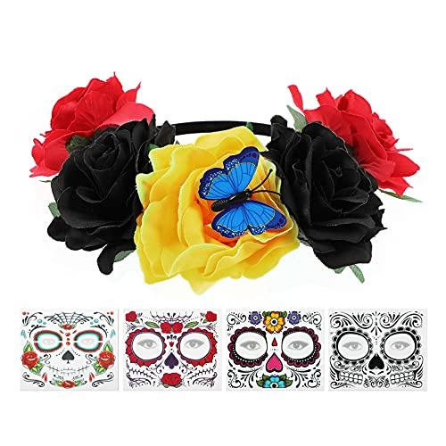 FRCOLOR - Fascia per capelli per Halloween, motivo floreale, con rose messicane, 4 pezzi, per Halloween