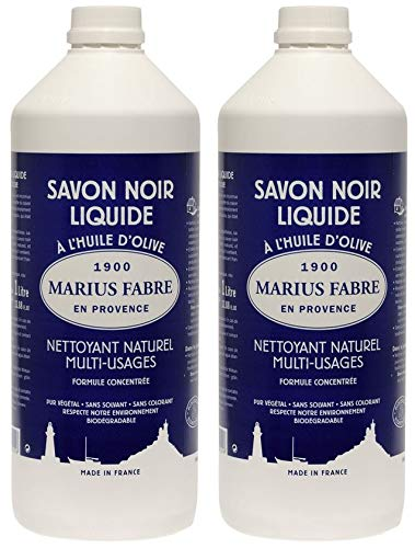 Marius Fabre - NERO SAPONE LIQUIDO DI MARSIGLIA all'olio d'oliva - Natural Multi-Purpose Cleaner - Set di 2 bottiglie da 1 litro