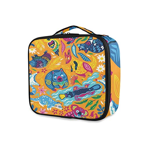 Australia Animals Makeup Bag Portable Borsa per cosmetici Travel Toiletry Bag Organizer Large Capacity Cosmetic Travel Case Stylish Makeup Train Cases with Adjustable Dividers for Women Girls