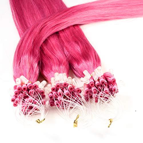 Hair2Heart 25 x 0.5g Microring Loop Extension Capelli Veri - 50cm - Liscio, Colore #rosa