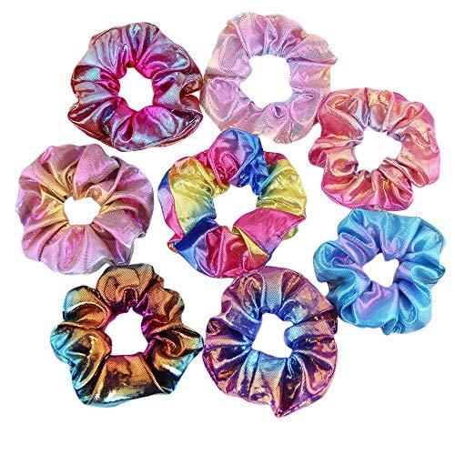 8 Pieces Capelli Scrunchies, 8 Colori Elastici per Capelli Colore Metallico Sfumato Scrunchies Elastico Lucidi Metallici Accessori per Capelli per Donne o Ragazze