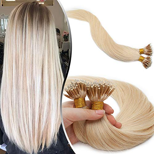 Elailite Extension Microring Capelli Veri Anelli Invisibili Biondi con Fili 50 Ciocche 45cm 100% Remy Human Hair Naturali Fissati Anellini 50g #60 Biondo Platino