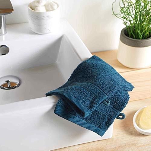 Morbido per interni, 2 asciugamani da bagno, 15 x 21 cm, in spugna, tinta unita, colori blu notte