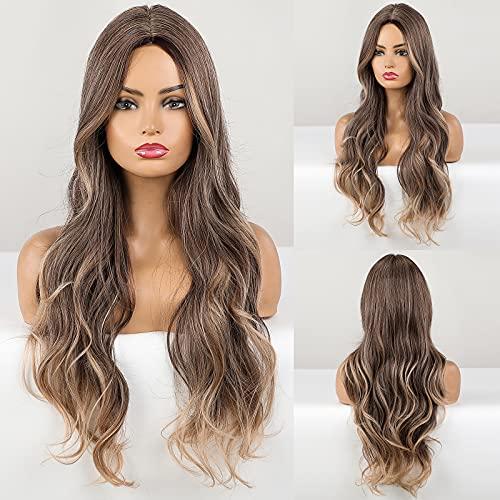 HAIRCUBE Parrucca riccia lunga, parrucche sintetiche Parrucche resistenti al calore da grigio naturale a biondo per uso quotidiano da donna