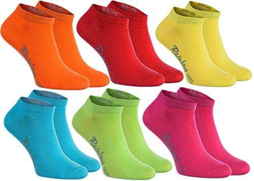 Rainbow Socks - Donna Uomo Colorate Calzini Corti di Cotone - 6 Paia - Arancione Rosso Giallo Verde Mer Verde - Taglia 39-41