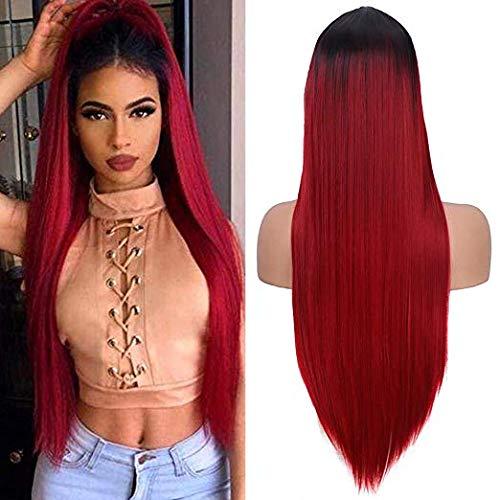 YMHPRIDE Parrucche diritte sfumate dal nero al rosso vino per le donne Parrucca sintetica per capelli con parte centrale dall'aspetto naturale (24 pollici)
