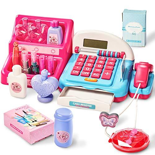 HERSITY Registratore di Cassa Giocattolo Bambini con Scanner Supermercato Cassa Soldi Regalo Gioco Trucco Bambina 3 4 5 Anni