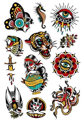 Set Vintage della Tatsy, Tatuaggi Temporanei Adesivi Coprenti per Uomo e Donna, Idrorepellenti, Tatuaggi Fatti in Europa, Wanderlust, Tigre, Cavalluccio Marino, Set Unico Firmato da Erika Tóth