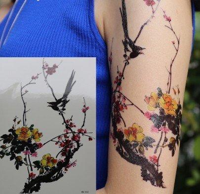 Tatuaggi fiori d'inverno cinesi Tatuaggi in flashTemporanei HB552 Adesivi per corpo colore morbido