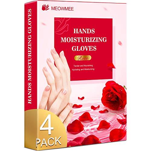 Guanti idratanti per le mani, MEOWMEE 4 paia Maschera per mani Maschere idratanti per mani asciutte Guanti idratanti Cura delle mani nutriente per donne e uomini Materiale touchscreen
