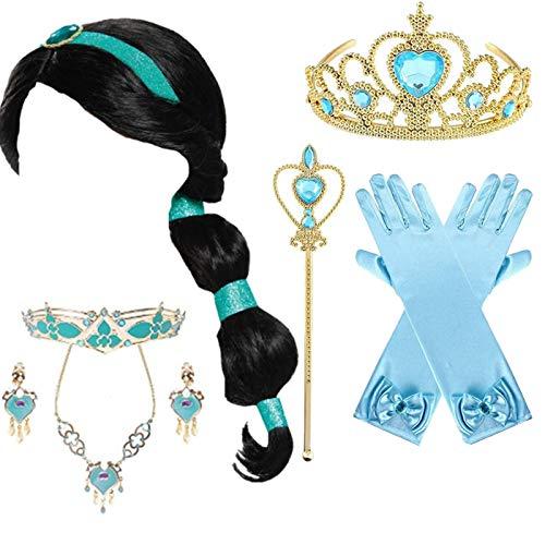 EMIN Aladdin, costume da principessa Jasmin, set di accessori per parrucca, orecchini per capelli, collana per bambini e ragazze, colore nero, da principessa, per carnevale, Halloween