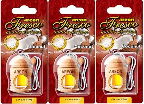 AREON Fresco Deodorante Auto Cocco Dolce Tropical da Appendere Specchietto Pendente Boccetta Bianco Legami 3D (Set x 3)