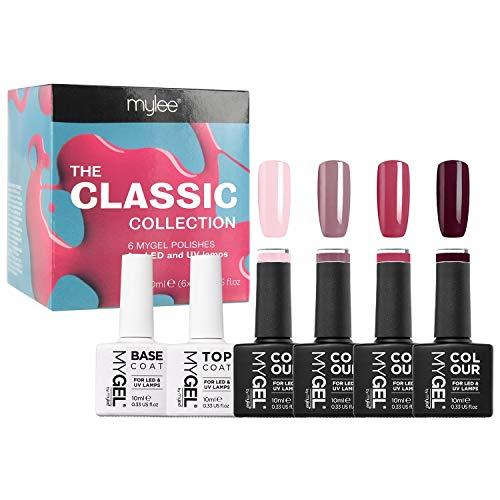 MYGEL by Mylee, smalto gel per unghie, collezione Classic, 4 x 10 ml colori + top coat e base, asciugatura UV/LED, per manicure e pedicure