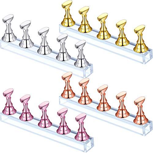 4 Set Sopporto Espositore Unghie Acrilico Supporto Unghie Finte Supporto Pratica Unghie Magnetico Unghie Fai-da-Te Supporto Nail Art per Unghie False Strumento Manicure (Oro, Argento, Oro Rosa, Rosa)