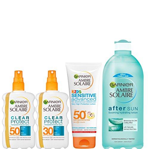 Ambre Solaire - Kit per crema solare e doposole per bambini e adulti SPF 30 e SPF 50 (4 pezzi)