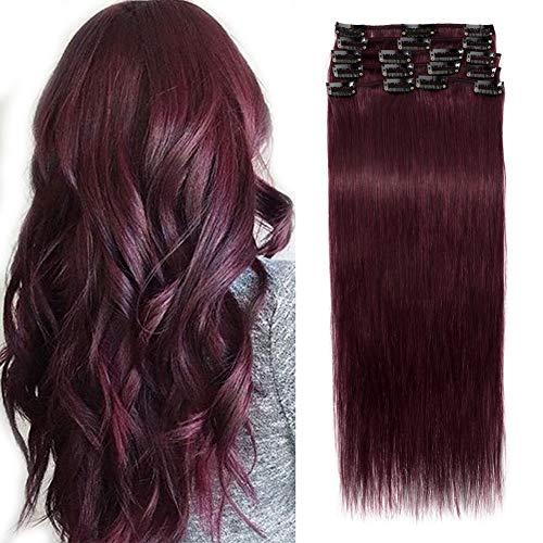 Elailite Extension Capelli Veri Clip Remy Human Hair Naturali Set da 8 Ciocche Quickclip [Normal Weft, 40cm (65g)] 99J# Rosso Borgogna