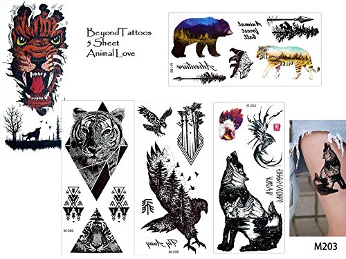 Tiger Tattoos - Set di 5 fogli di tatuaggi con animali