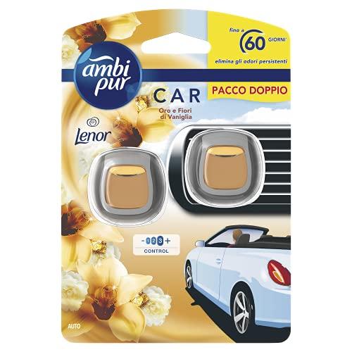 Ambi Pur Deodorante Auto, 2 Pastiglie da 2 ml, Profumo Lenor Oro e Fiori di Vaniglia, Elimina Odori Facile da Agganciare, Durata fino a 2 Mesi, Usa e Getta