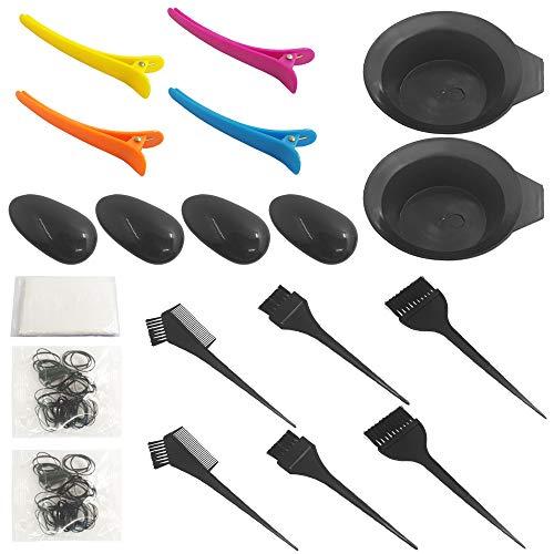 YuCool, kit tinture per capelli, 21 pezzi, spazzola per tinture per capelli, spazzola per miscelare, tappi per le orecchie, cuffia per la doccia, clip