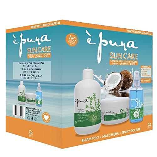È Pura - Trattamento Professionale Completo di Protezione Solare per Tutti i Tipi di Capelli - Shampoo Protezione Solare, la Maschera Intensiva per Capelli Esposti al Sole, Spray Solare Nutritivo