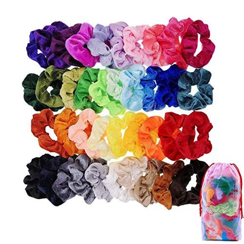 JZK 39 x Colorati codini elastici velluto fermacoda scrunchies per capelli bambina donna bomboniera pensierino regalo compleanno natale