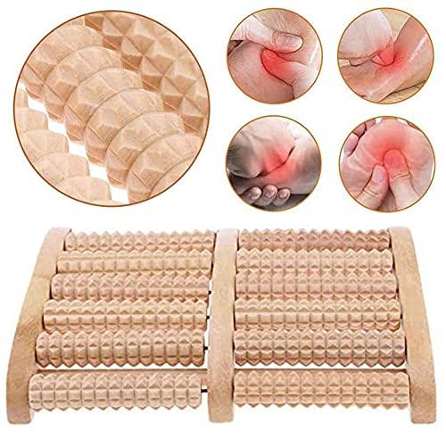 Rullo Massaggio Piedi, NALCY Doppio Massaggiatore Piedi Legno Massaggiatore Rullo per Piedi Piede di Agopressione Sollievo dal Dolore per Fascite Plantare, Dolore al Piede Dolori