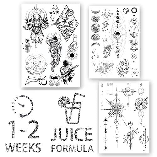 AWAKEN Tatuaggi Finti Temporanei Juice Tattoo Semi Permanente Adesivi Impermeabile a base Vegetale dura 1-2 Settimane Design Unisex Astronauta Pianeti Galassie Compasso Freccia (Pacco 1)