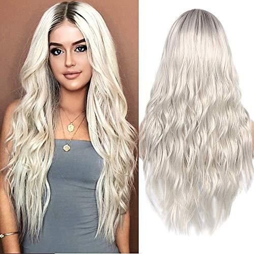 Parrucca sintetica da donna, biondo effetto ombré con radici scure, capelli lunghi e ondulati, per cosplay, festa e uso quotidiano