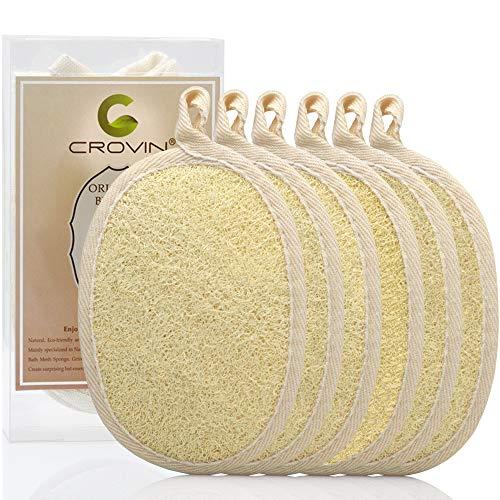 Crovin - Spugne esfolianti in Luffa 100% naturale, per la cura del corpo, il bagno e la doccia, per uomo e donna, Confezione regalo da 6 Pezzi
