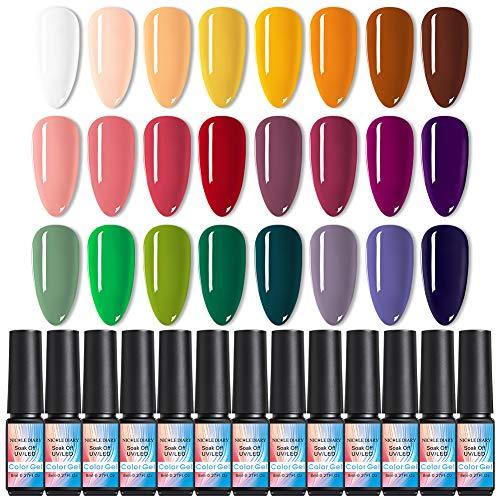 NICOLE DIARY 24 colori Set regalo Kit smalto per unghie Spring into Summer Soak Off Smalti UV LED per gel per nail art 8 ML/PC Confezione da 24 kit serie Pretty Colors